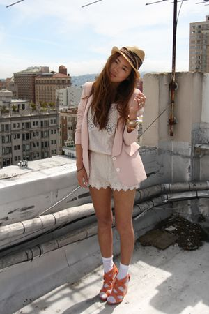 pink blazer - orange wedges Pour La Victoire shoes - beige playsuit Zara shorts