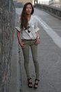 White-thrifted-shirt-green-zara-pants-black-balenciaga-shoes