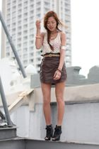 brown leather skirt Society for Rational Dress skirt - black Kelsi Dagger shoes