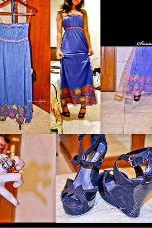 blue Forever 21 dress - blue Mango shoes - silver accessories