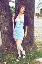 beige f21 shoes - sky blue Zara dress - black lace thrifted jacket - white dotte