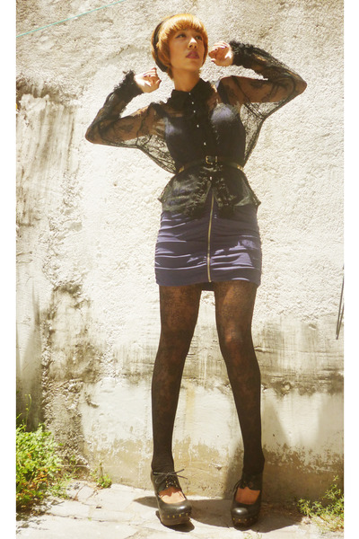 black lace gift tights - deep purple H&M dress - black moms scarf