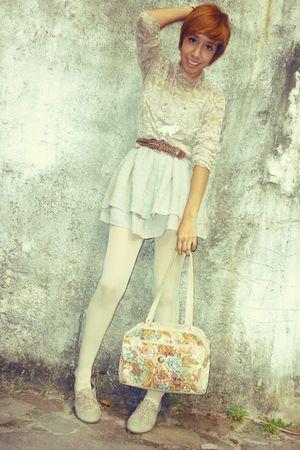 beige thrift blouse - white thrift accessories - silver f21 dress - beige thrift