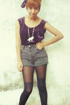 purple thrift shirt - gray thrift shorts - black thrift tights - white thrift ac
