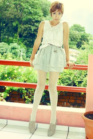 white moms shirt - silver Forever 21 dress - white thrift tights - beige gift sh