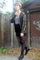 black thrift skirt - white thrift shirt - brown thrift cardigan - black thrift b