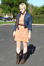 Dark-brown-cowboy-thrift-boots-salmon-shift-vintage-dress-navy-pleated-denim