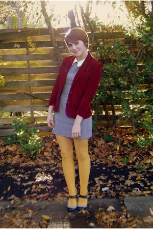 crimson thrift blazer - heather gray thrift dress - mustard payless tights - bla