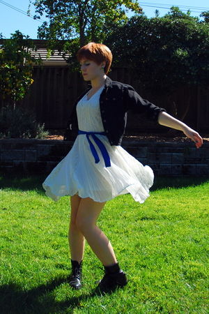 white thrifted dress - black Levis jacket - black thrifted boots - blue handmade