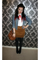 burnt orange bodycon ark skirt - navy denim jacket vintage jacket