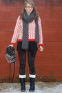 Red-ebay-sweater-gray-scarf-black-topshop-leggings-black-boots-black-hat