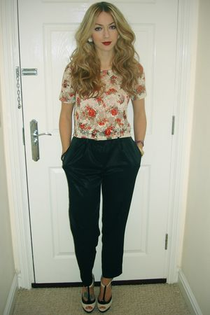 red Topshop blouse - black asos pants - beige Topshop shoes - red Primark
