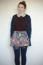 forest green high-waisted vintage shorts - navy Topshop socks - crimson DIY t-sh