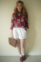 red vintage blouse - white asos shorts - white Topshop tights - white socks - re