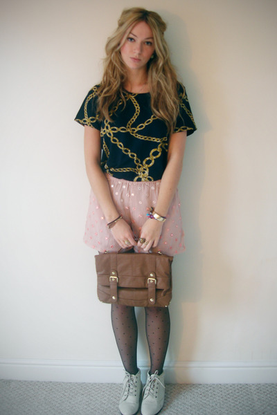 blue vintage t-shirt - pink asos shorts - brown Primark bag - black tights - whi