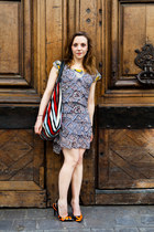 silk Cacharel dress - Cacharel bag - leather Louis Vuitton heels