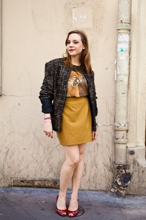 leather ANDRE heels - tweed Hippy Market sacr coeur Paris jacket