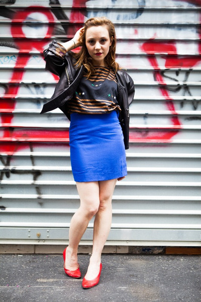 black vintage jacket - blue vintage skirt - red vintage heels