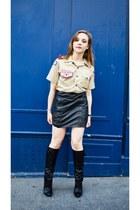 black Louis Vuitton boots - beige vintage shirt - black vintage skirt