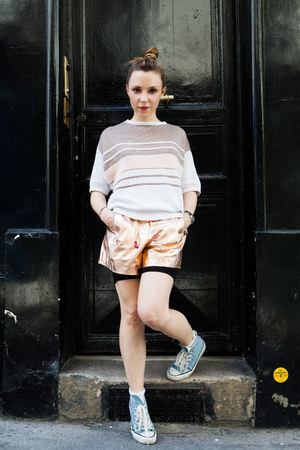 peach Louis Vuitton shorts - sky blue Converse sneakers - vintage jumper