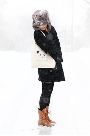 ivory pandafights bag - tawny Joie boots - black Rachel Comey coat