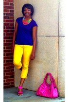 bubble gum Jessica Simpson purse - yellow TJ Maxx jeans