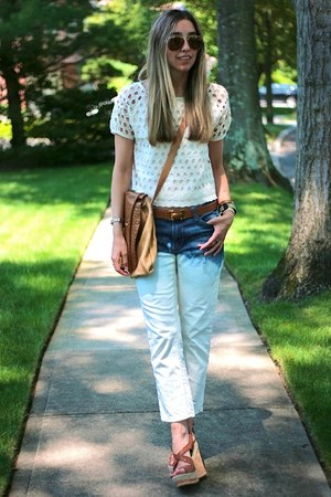 sky blue diy jeans - camel Fendi bag - tawny cork Prada wedges