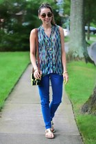 blue lattice back Arden B blouse - blue skinny Flying Monkey jeans