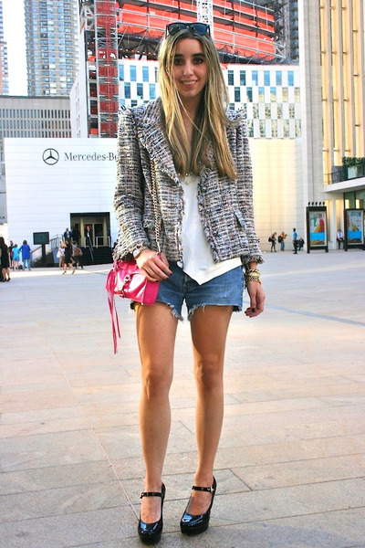 heather gray tweed Chanel t-shirt - hot pink mini mac Rebecca Minkoff bag