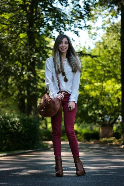 brick red skinny Flying Monkey jeans - tawny platform Alexander Wang boots