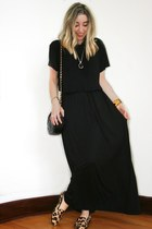 black maxi Forever 21 dress - black vintage Chanel bag