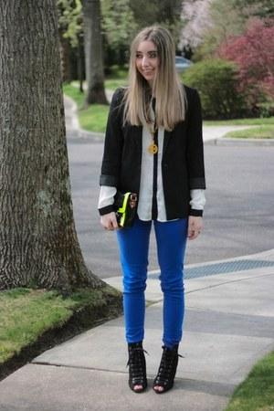 chartreuse neon asos bag - black booties Payless boots - black H&M blazer