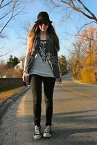 black jeggings H&M jeans - black fedora H&M hat