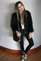 black faux fur Zara coat - black jeggings H&M jeans