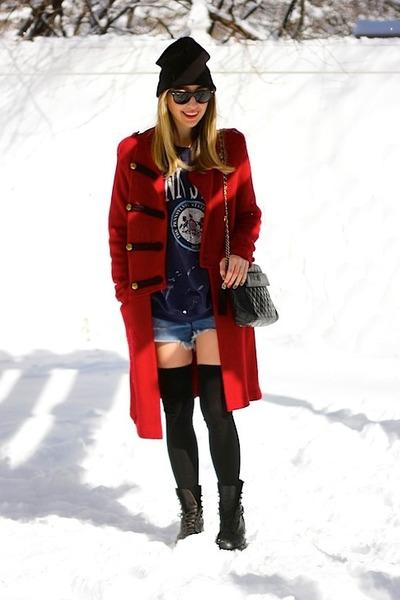 red sweater coat Ralph Lauren sweater - black logger Frye boots
