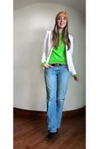 sky blue ripped citizens of humanity jeans - chartreuse cashmere J Crew sweater