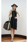 Black-cheap-monday-dress-brown-weekender-louis-vuitton-bag