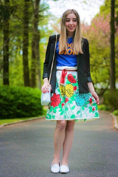 white floral print Anthropologie skirt - black H&amp;M blazer