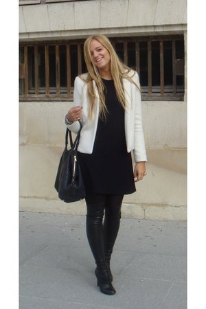 Top Shop jacket - Chloe dress - Stella McCartney boots - YSL purse