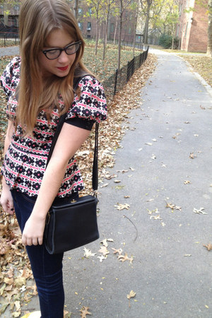 hot pink milly blouse - navy BDG jeans - black coach bag - black ray-ban glasses