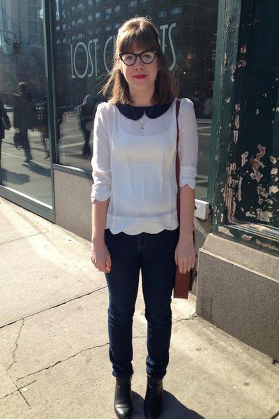 white modcloth blouse - black H&M boots - navy BDG jeans - brown H&M bag