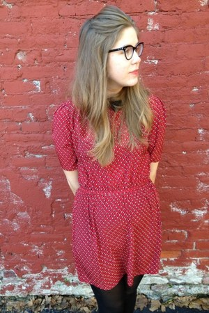 black xhiliration tights - red Forever 21 dress - black Ray Ban glasses