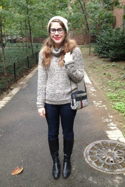 gray pins and needles sweater - black Chadwicks boots - navy BDG jeans