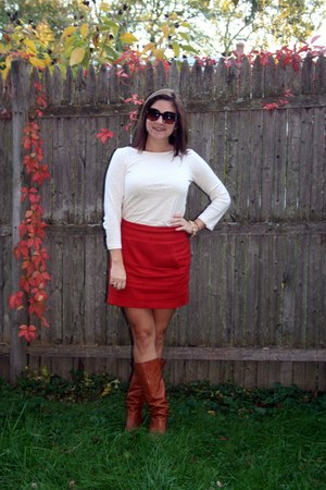 burnt orange H&M skirt - tawny boots - ivory JCrew shirt