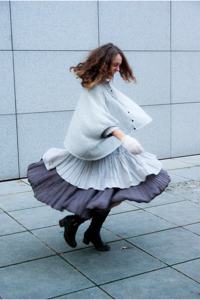 gray vero modaonly sweater - beige H&M dress - brown Miss Selfridges skirt - bro