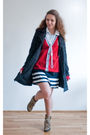 Blue-sisters-coat-blue-skirt-red-sweater-blue-jakes-shirt-beige-topshop-