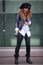 black Zara jacket - black Only leggings - blue random brand shirt - black River