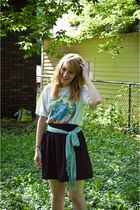 white Humanitees t-shirt - blue pitaya scarf - black Urban Outfitters skirt