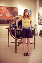 yellow Forever 21 blouse - blue Lux skirt - blue Aldo shoes