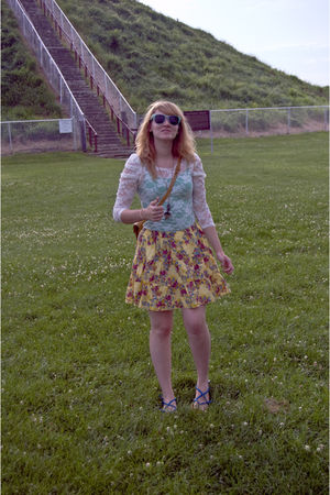 white Urban Outfitters blouse - green top - yellow Target skirt - blue Aldo shoe